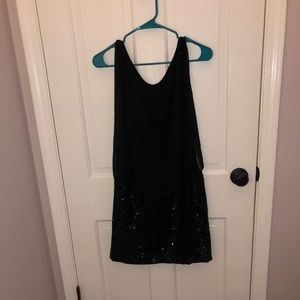 Black dress with sheer top and sparkly bottom